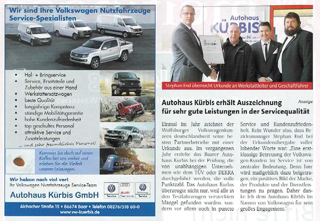 Autohaus Kürbis erhält Auszeichnung