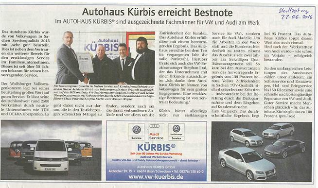 Autohaus Kürbis erreicht Bestnote
