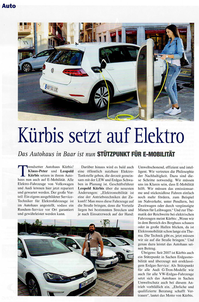 Kürbis VW & Audi Stützpunkt für Elektromobilität