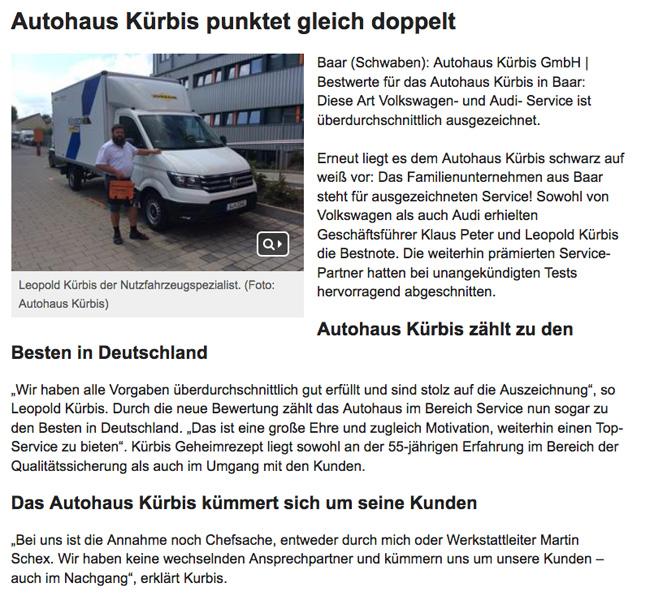 Autohaus Kürbis punktet gleich doppelt
