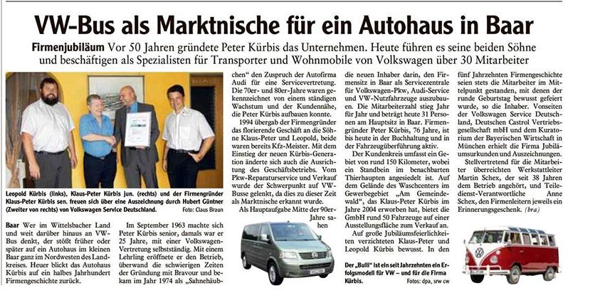 VW-Bus als Marktnische für ein Autohaus in Baar